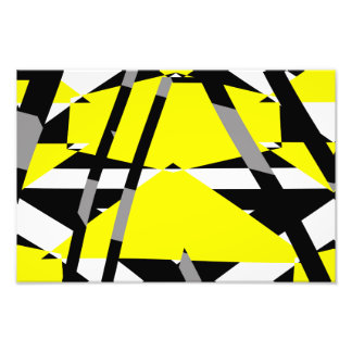 Yellow, black and white pieces abstract design photo