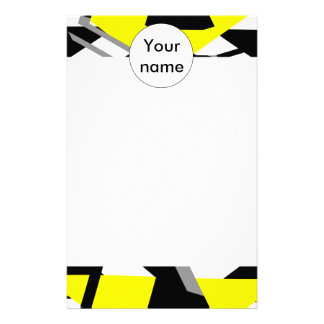 Yellow, black and white pieces abstract design customized stationery