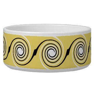 Yellow, Black and White Swirls Pattern.