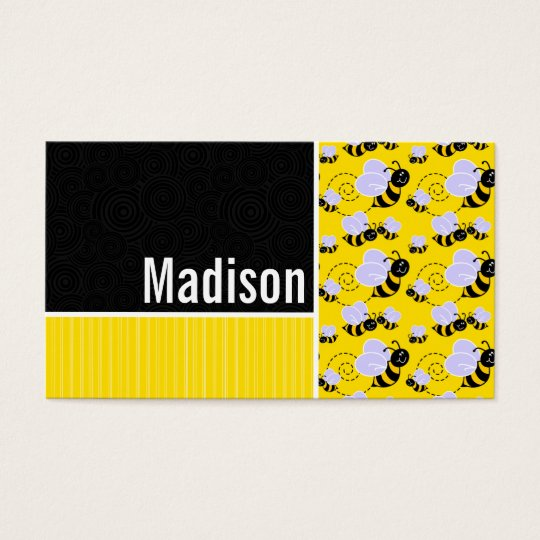 Yellow & Black Bee Pattern Business Card