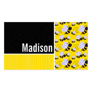 Yellow & Black Bee Pattern Pack Of Standard Business Cards