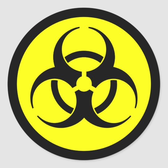 Yellow black biohazard symbol sticker