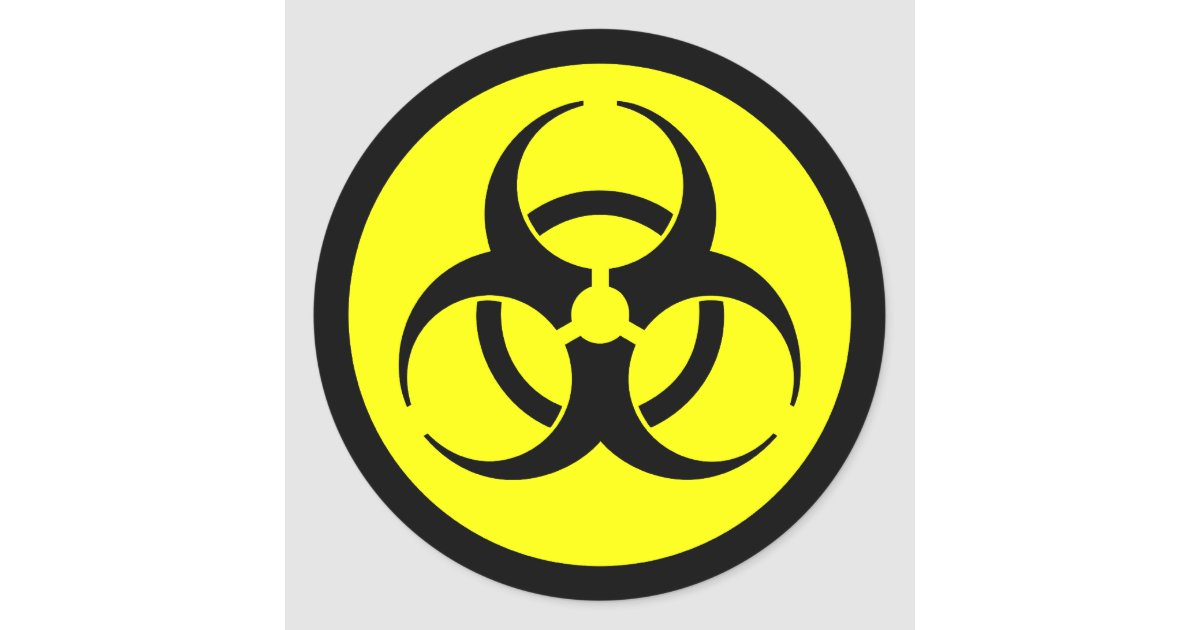 Yellow black biohazard symbol sticker zazzle co uk