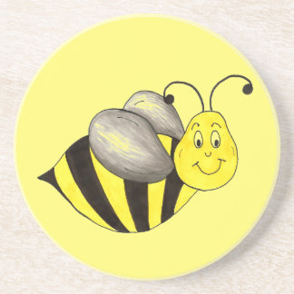 Yellow Black Bumble Bee Bumblebee Insect Buzz Coaster