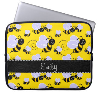 Yellow & Black Bumble Bee Laptop Sleeves