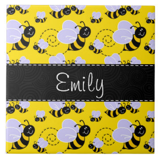 Yellow & Black Bumble Bee Large Square Tile