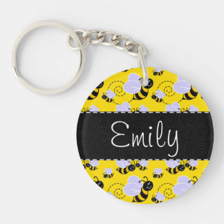 Yellow & Black Bumble Bee Single-Sided Round Acrylic Key Ring