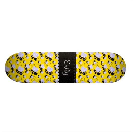 Yellow & Black Bumble Bee Skate Board