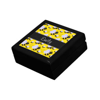 Yellow & Black Bumble Bee Small Square Gift Box