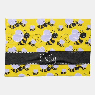 Yellow & Black Bumble Bee Tea Towel