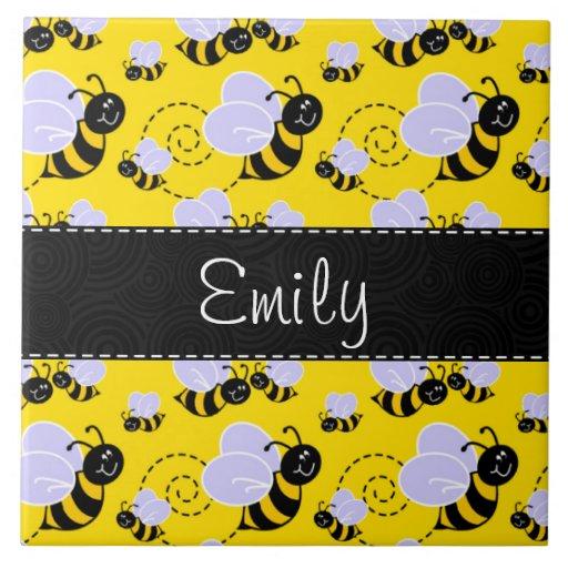 Yellow & Black Bumble Bee Ceramic Tiles