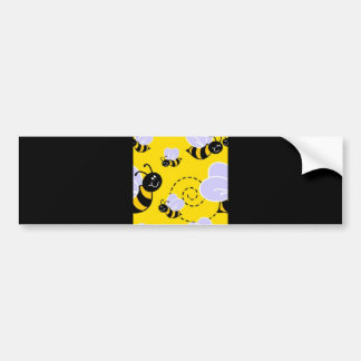 YELLOW BLACK BUZZ BEE HONEYBEE CARTOON CUTE BUMPER STICKER