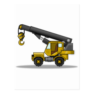 Yellow & Black Cartoon Crane Construction Vehicle Postcard