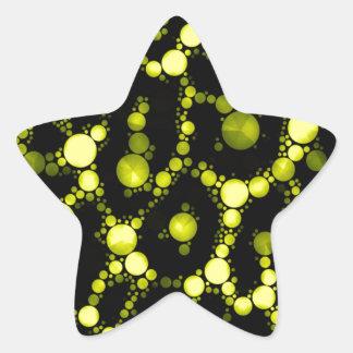 Yellow Black Cheetah Abstract Star Sticker