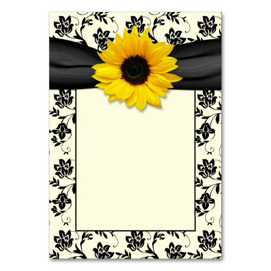 Yellow Black Cream Damask Sunflower Wedding Card