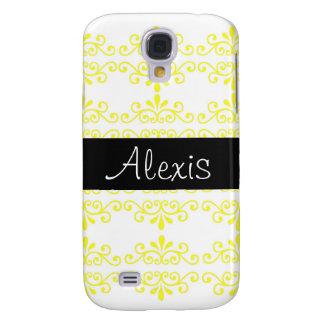 Yellow Black Damask Samsung Galaxy S4 Case
