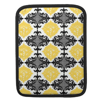 Yellow & black damask floral girly flower pattern iPad sleeves
