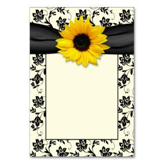 Yellow Black Damask Sunflower Ribbon Wedding Table Cards