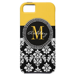 Yellow Black Damask Your Monogram Case For The iPhone 5