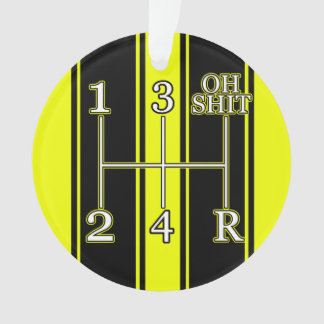 Yellow Black Dual Race Stripe Muscle Car Ornament