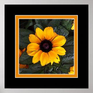 Yellow Black Eyed Susan Flower Wall Art / Poster Poster