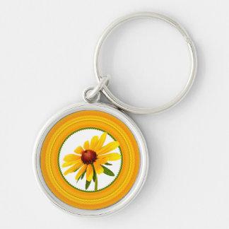 Yellow Black-Eyed Susan in Circular Frame Key Chain
