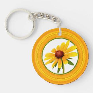 Yellow Black-Eyed Susan in Circular Frame Single-Sided Round Acrylic Key Ring