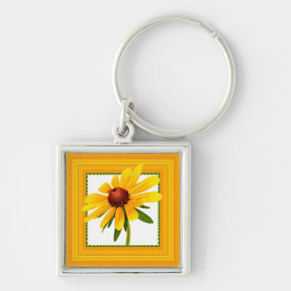 Yellow Black-Eyed Susan in Square Frame Keychain