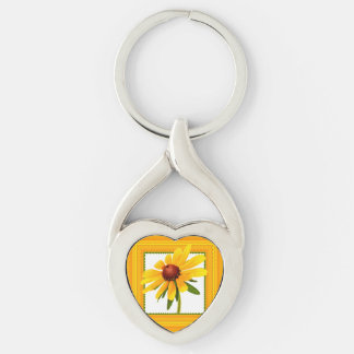 Yellow Black-Eyed Susan in Square Frame Key Chain