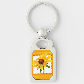 Yellow Black-Eyed Susan in Square Frame Silver-Colored Rectangle Key Ring