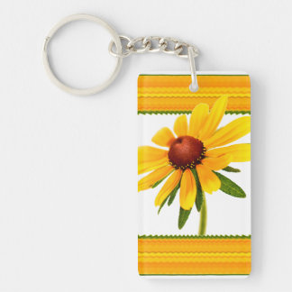 Yellow Black-Eyed Susan in Square Frame Single-Sided Rectangular Acrylic Key Ring