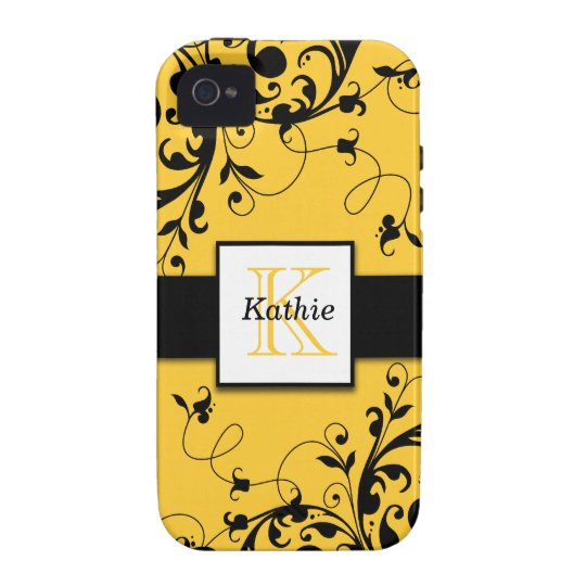 Yellow Black Floral Swirls iPhone 4 Case-Mate