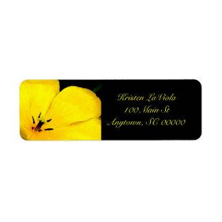 Yellow & Black Flower Address Label