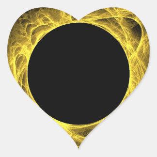 Yellow & Black Fractal Background Heart Sticker