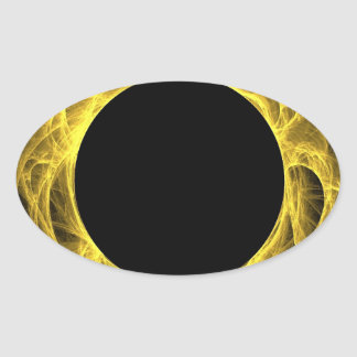 Yellow & Black Fractal Background Oval Sticker