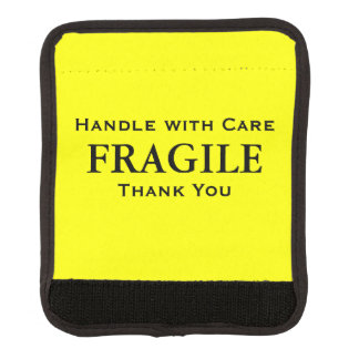 Yellow Black Fragile Handle with Care Thank You Luggage Handle Wrap