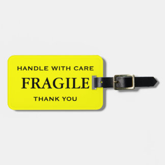 Yellow Black Fragile Handle with Care Thank You Luggage Tag