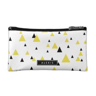 Yellow & Black Geometric Pattern Personalized Cosmetic Bag