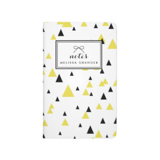 Yellow & Black Geometric Pattern Personalized Journal