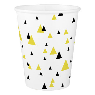 Yellow & Black Geometric Pattern Personalized Paper Cup