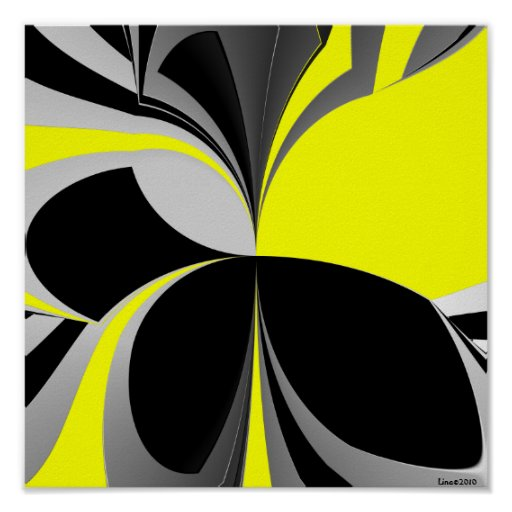 Yellow Black Grey Abstract Poster