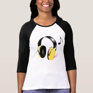 Yellow & Black Headphones Raglan Shirt