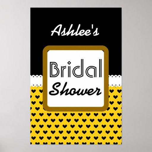Yellow Black Hearts Theme Bridal Shower B01 Poster