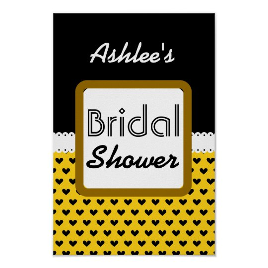 Yellow Black Hearts Theme Bridal Shower B01 Poster