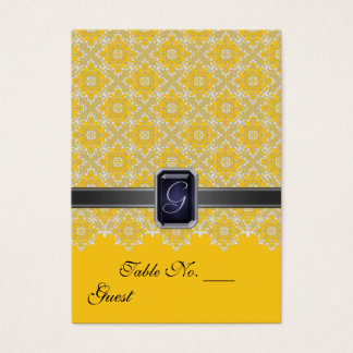 Yellow & Black Lace Wedding Table  PlaceCard