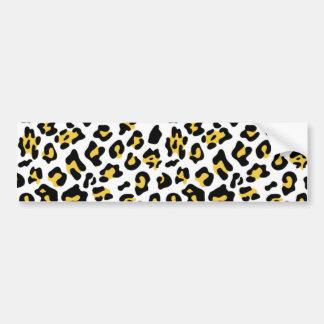 Yellow Black Leopard Animal Print Pattern Bumper Sticker