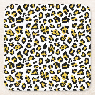 Yellow Black Leopard Animal Print Pattern Square Paper Coaster