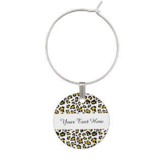 Yellow Black Leopard Animal Print Pattern Wine Glass Charms
