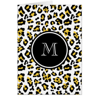 Yellow Black Leopard Animal Print with Monogram Greeting Card