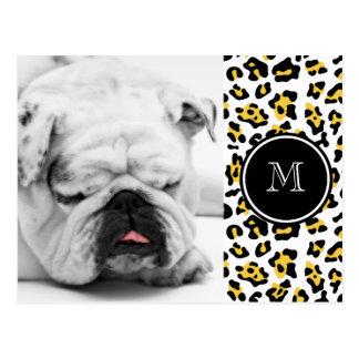 Yellow Black Leopard Animal Print with Monogram Postcard